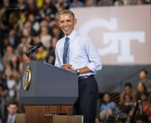 The President stated he believes higher education is the best investment one can make in themselves and in their country — particularly at Georgia Tech.