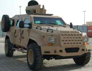 With its hollow cavity walls filled with blast protective materials, the Gurkha armored personnel vehicle 's side armor is designed to provide protection against side load IEDs. In addition, its frontal armor and second armored firewall protects the driver and front passenger from a frontal attack.  In addition, the armored floor is protected from a blast from below.