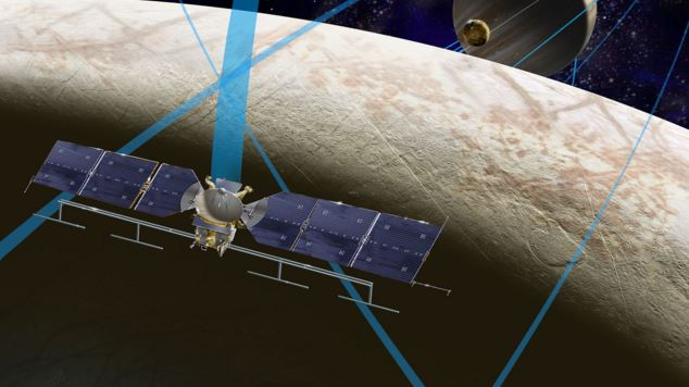 This artist's rendering shows a concept for a future NASA mission to Europa in which a spacecraft would make multiple close flybys of the icy Jovian moon, which is thought to contain a global subsurface ocean.