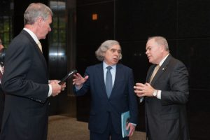 "Georgia Tech President G.P. ""Bud"" Peterson, left, and Executive Vice President for Research Steve Cross, right, host U.S. Secretary of Energy Ernest Moniz for a tour of the Southern Company's innovation center May 24, 2016."