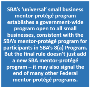 SBA Universal Mentor-Protege Program 08.2016